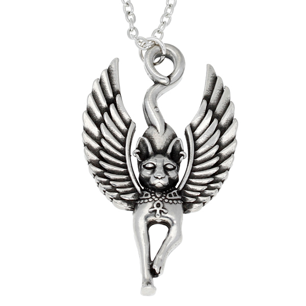 Pewter egyptian cat god pendant