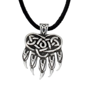 Celtic bear paw pendant - leather thong
