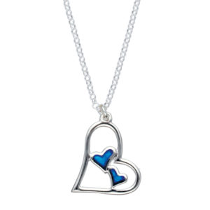Silver double heart enamelled pendant