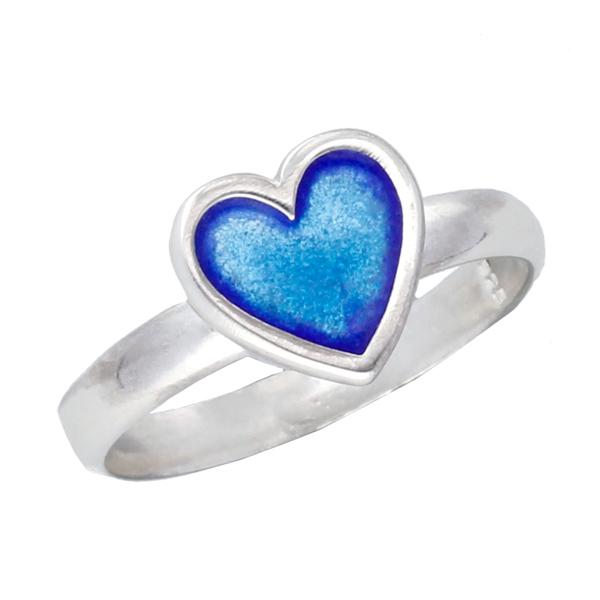 silver blue enamelled heart ring