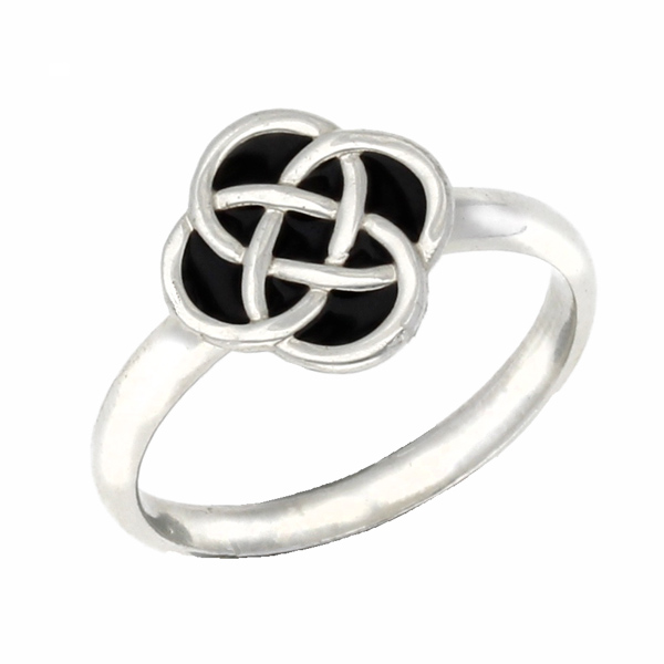 Silver enamelled knot ring