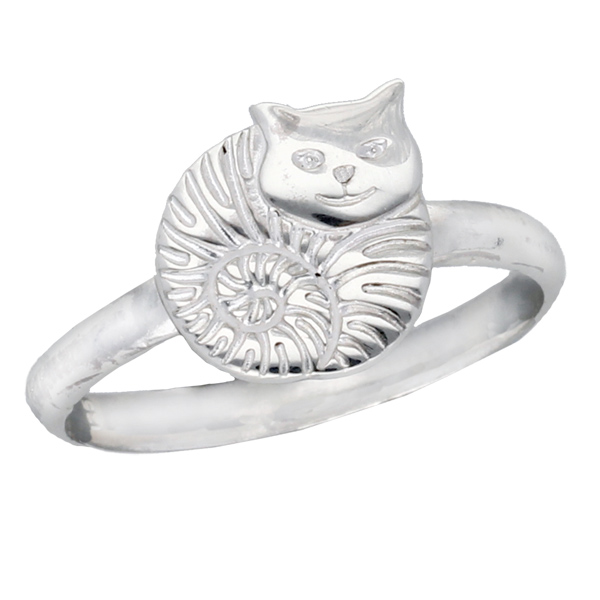 Silver fat cat ring