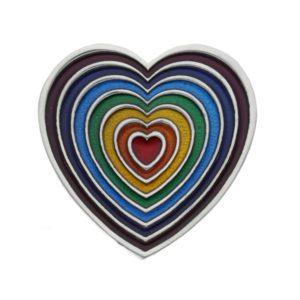 Rainbow heart brooch size L