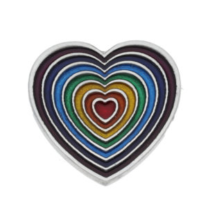 rainbow heart brooch