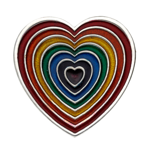 Rainbow heart brooch- red outer