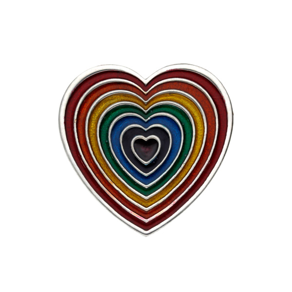Rainbow heart brooch small-red outer