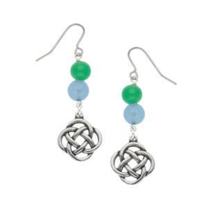Quadrant knot earrings with gemstone beads