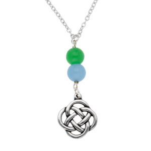 Quadrant knot pendant with gemstone beads