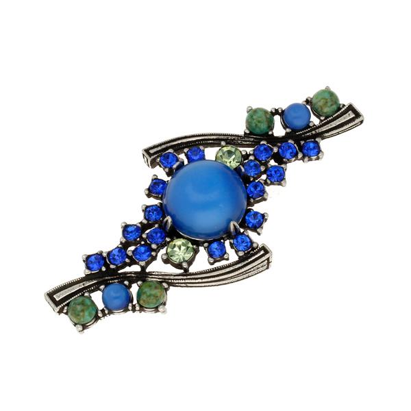 Miracle art deco multi crystal brooch