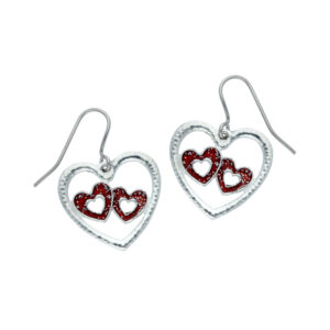double heart enamelled drop earrings