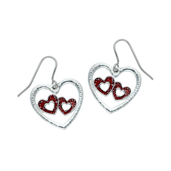 double heart enamelled drop earrings