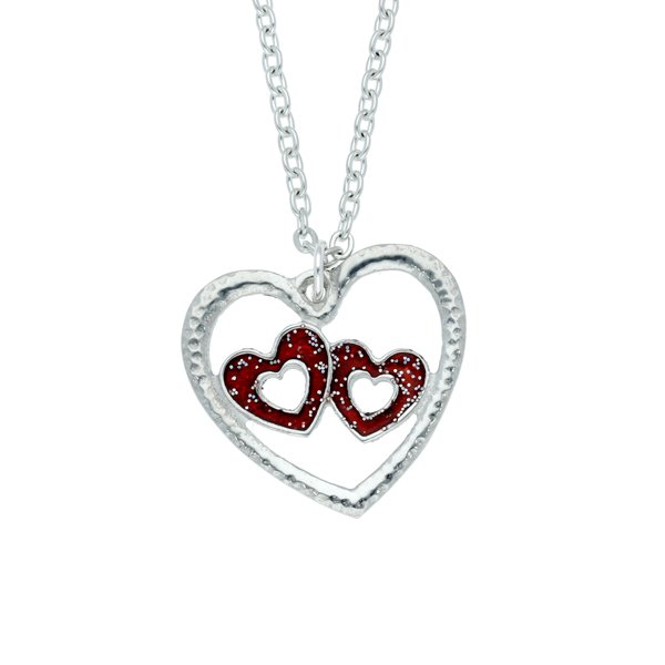 Double heart pendant with red enamel