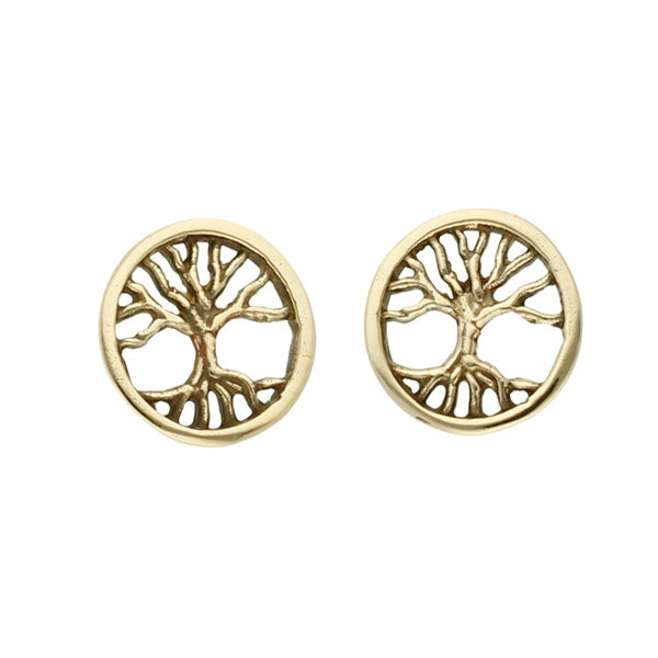 Bronze tree of life stud earrings