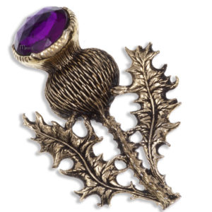Miracle large gold plated single thistle brooch