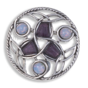 Miracle round Celtic 6 stone brooch