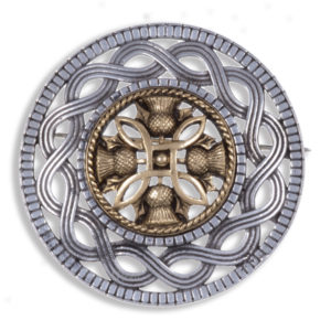 Miracle antique pewter rim brooch