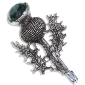 Miracle single thistle kilt pin pewter