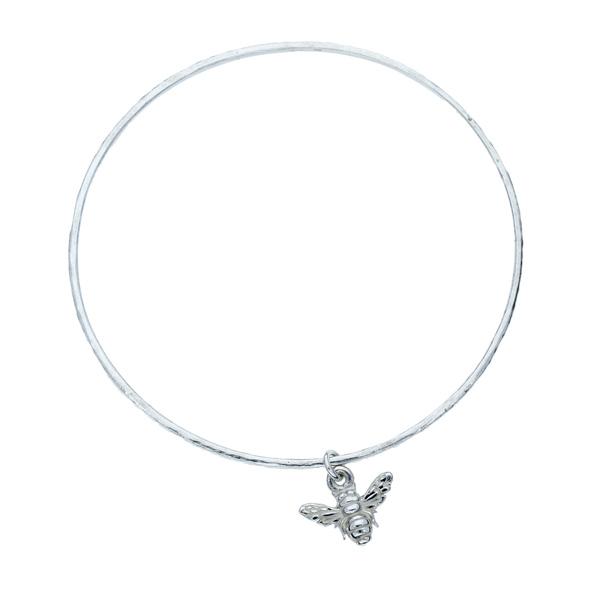 Silver Bee Charm Bangle