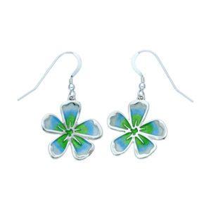 Silver Fleur enamelled earrings