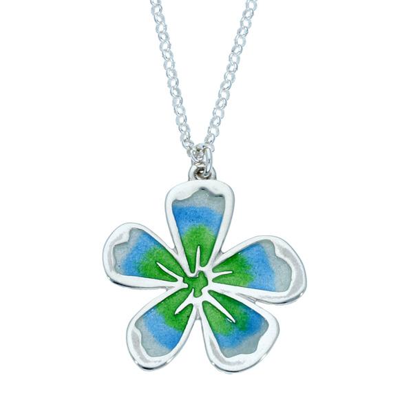 Silver Fleur enamelled pendant