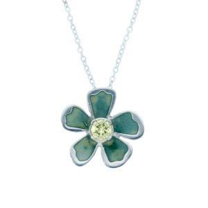 Exotic flower crystal pendant